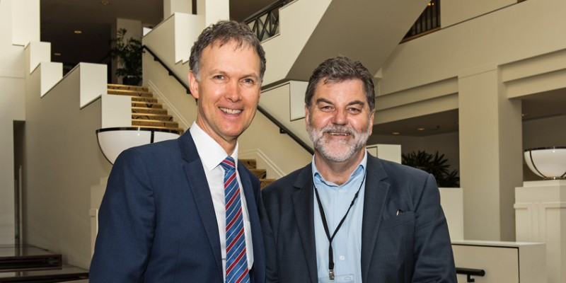 National Rural Health Commissioner Professor Paul Worley and NRHA CEO Mark Diamond during the 6th Rural and Remote Health Syposium April 2018