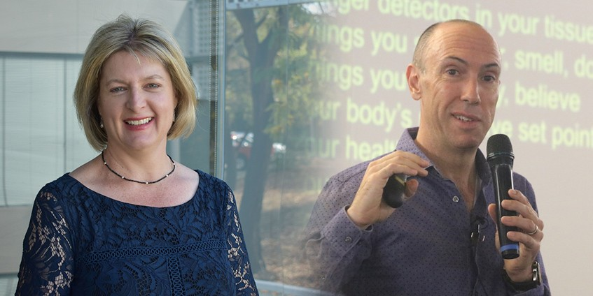 Carol Bennett, CEO Painaustralia and Pain Revolution founder, University of South Australia's Professor Lorimer Moseley