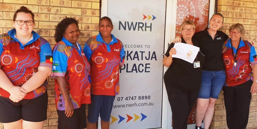 NWRH Speech therapist Eileen Hewitt pictured with NWRH Aged Care staff at NWRH Residential Aged Care Facility 'Kukatja Place' in Normanton after delivering safe swallowing training along with occupational therapist Hollie Fisher.