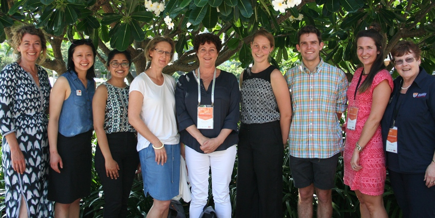 Justine Brindle (far left) and Linda Cutler (far right) with sponsored attendees at the 2018 Rural Medicine Australia Conference