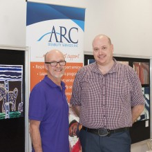 CEOs hangout at the ARC Disabilities Gallery. NRHA's David Butt and ARC Disability Services' Benjamin Keast.