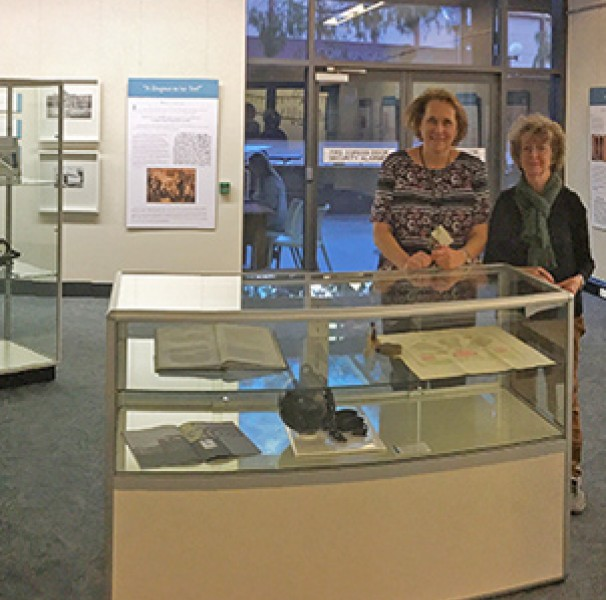 A/Prof Kath Weston and A/Prof Louella McCarthy, curators of the Caring for the Incarcerated exhibition about the history of prison medicine. The exhibition was held at the University of Wollongong in 2017