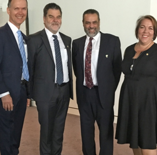 Professor Paul Worley National Rural Health Commissioner, Mark Diamond, National Rural Health Alliance CEO; Dr Ayman Shenouda, Rural GP, RACGP Vice President and RACGP Rural Chair; and Tanya Lehmann, National Rural Health Alliance Chair at the Forum