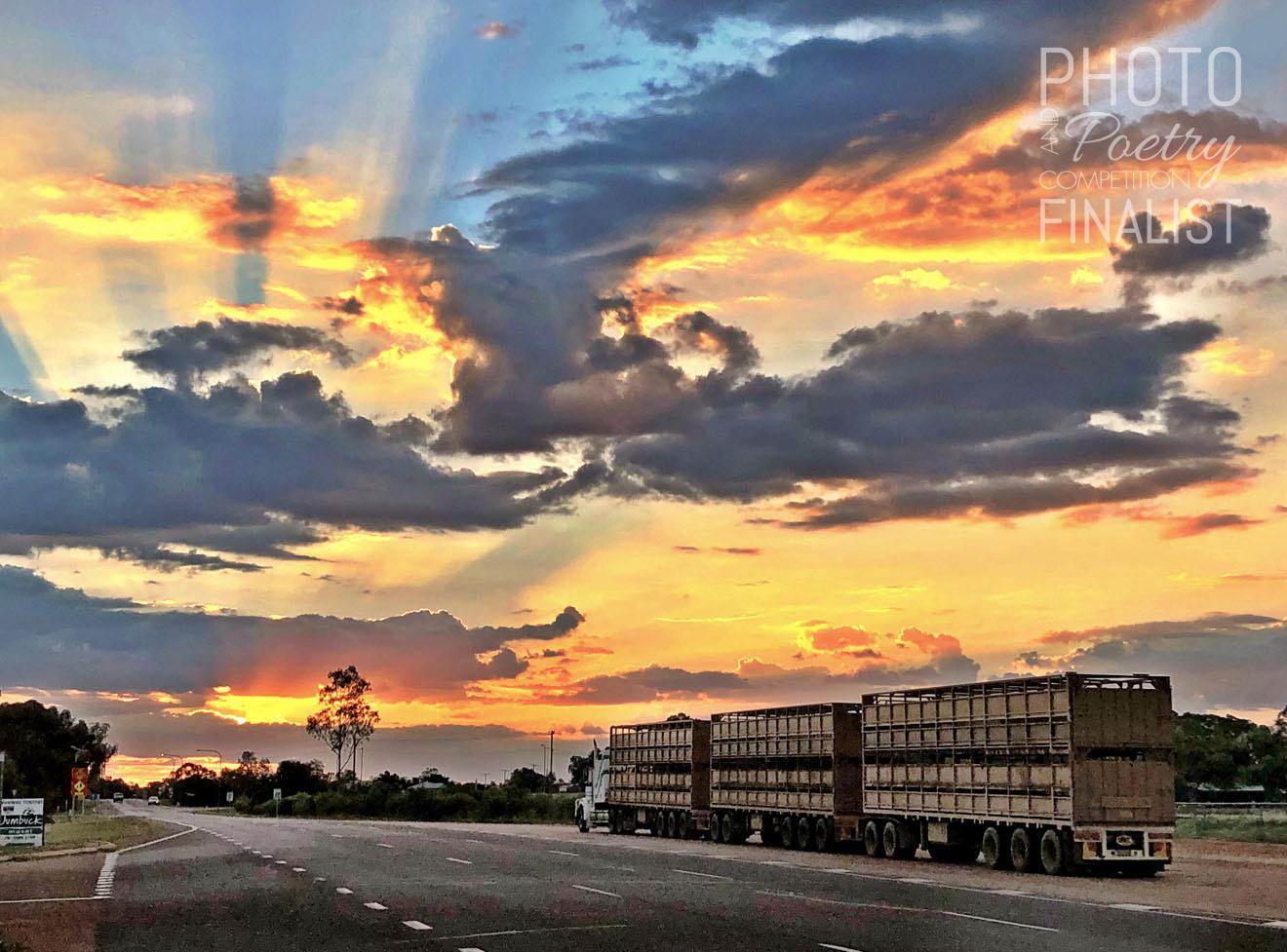 Desert road train - The lifeline of the remote Central West—having a break at sunset in Longreach. LARA WIELAND, Tarzali, QLD