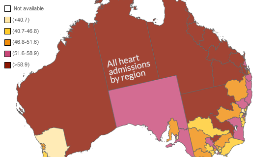 map of australia showing all heart admissions by region