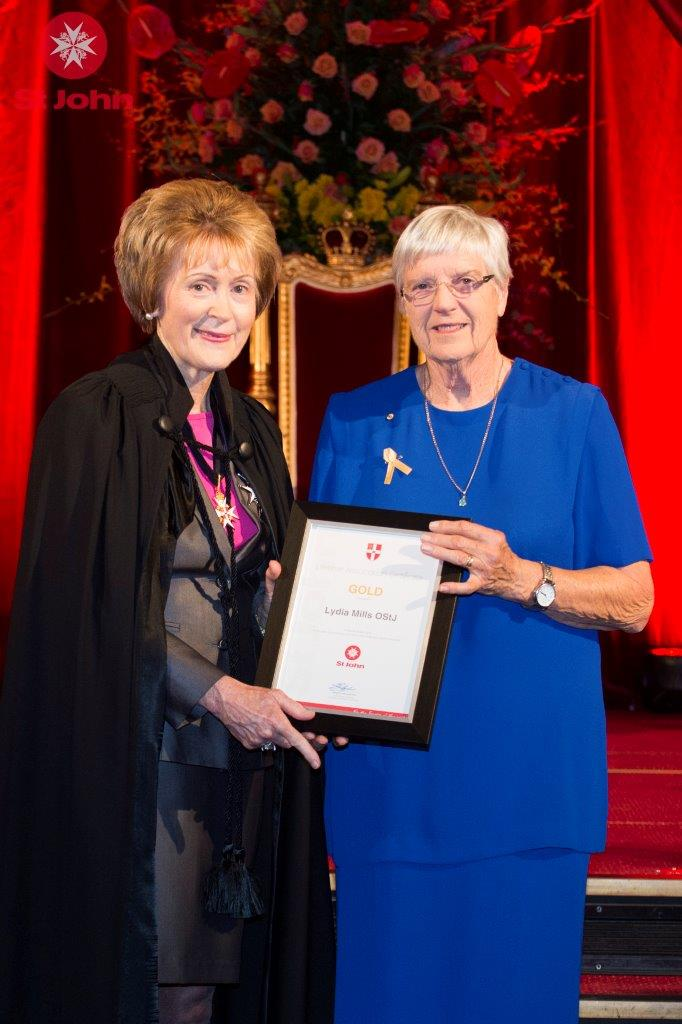 Investiture for 50 years of service to St John Ambulance - Kerry Sanderson AC Governor of WA and Irene Mills