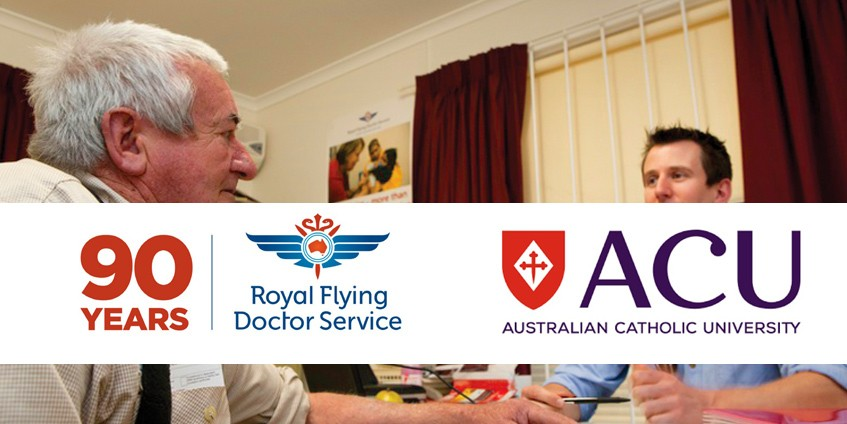 RFDS and ACU logo on photo of male doctor and patient