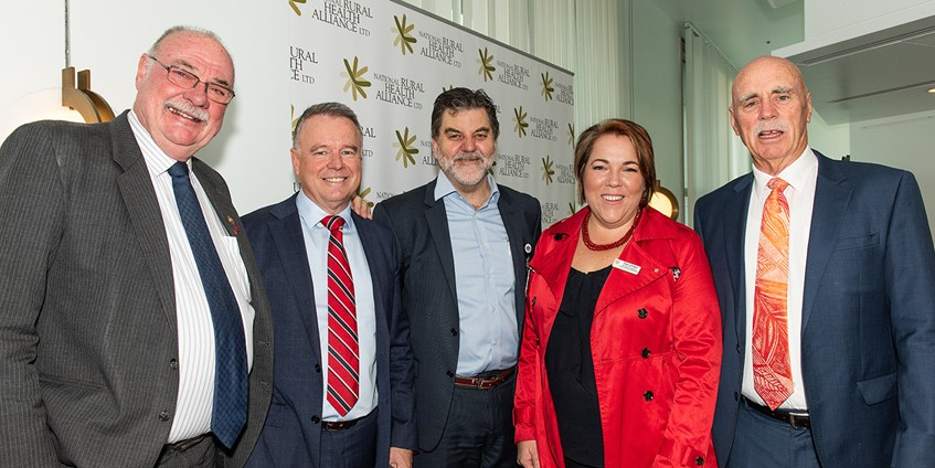 (L to R) Warren Ensch (LP, Qld), Joel Fitzgibbon (ALP, NSW), Alliance CEO Mark Diamond, Alliance Chair Tanya Lehmann, and Warren Snowden (ALP, NT) at the Parliamentary Friends of Rural and Remote Health breakfast. Photo Irene Lorbergs Photography.