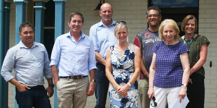 Dallas Leon, CEO of Gidgee Healing, Paul Woodhouse, Chair of NWHHS, Stuart Gordon, Chief Executive of WQPHN, Lisa Davies Jones, Chief Executive of NWHHS, Shaun Solomon, Chair of Gidgee Healing, Sheilagh Cronin, Chair of WQPHN, and Jacqui Thomson from Queensland Health visited the three Lower Gulf communities in February 2018 to check on progress