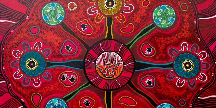 Gathay nyiirun - Lets walk together - Red dot painting