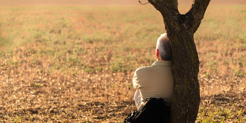 Man sitting leaning on tree