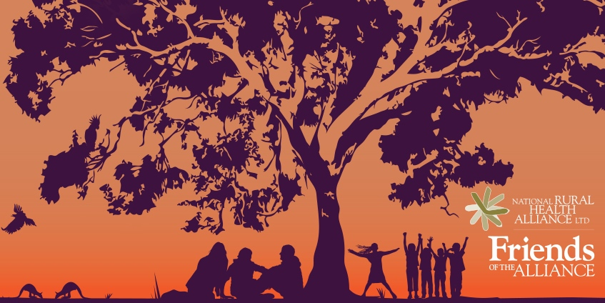 Friends illustration of a tree with people underneath