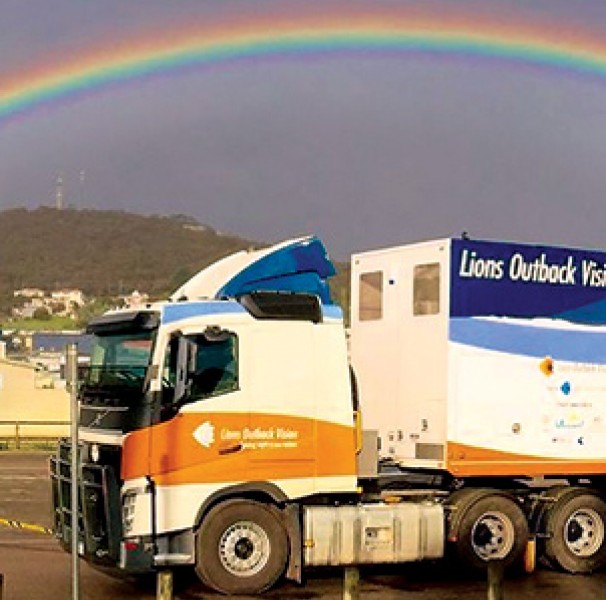 Semi trailer with rainbow