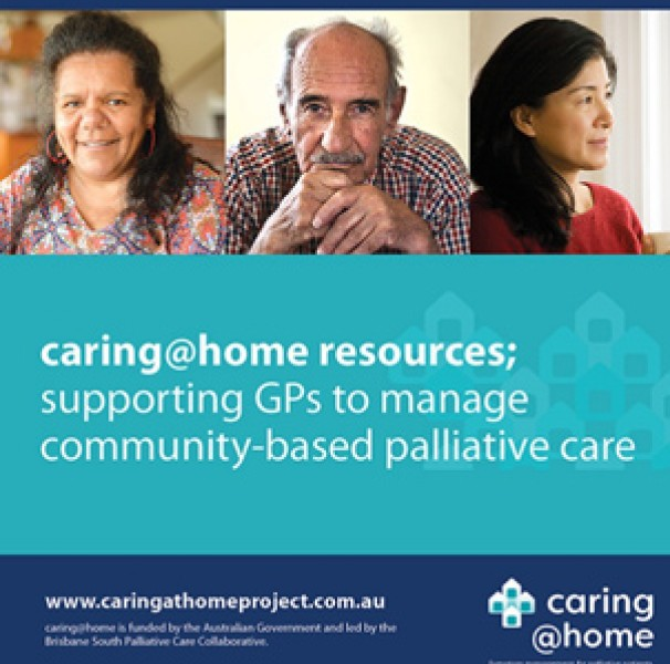 caring@home resources graphic with three faces