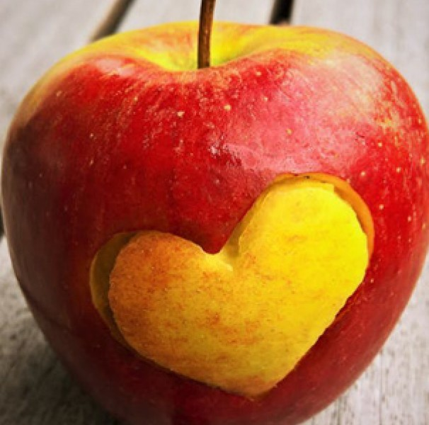 Heart shape cut from apple