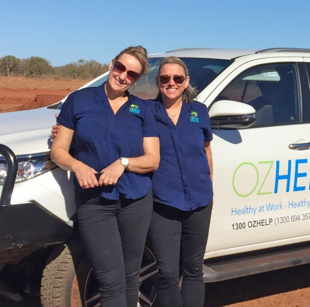 Two members of the OzHelp team in rural Australia. Photo: OzHelp