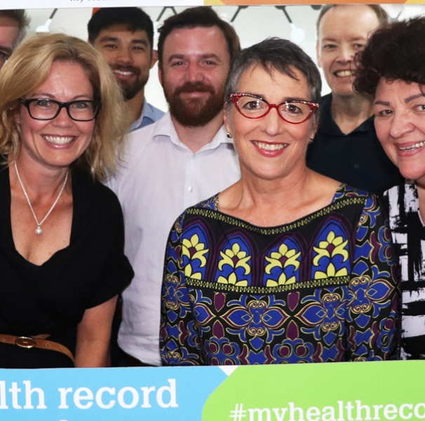 Group photo with frame that reads Your Health records in your hands