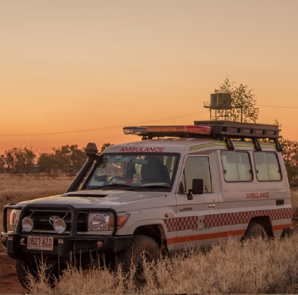 Bush ambulance at sunset