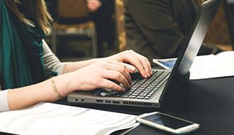 computer hands desk