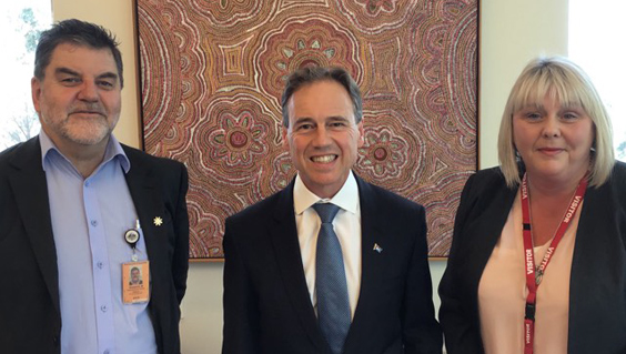 Mark Diamond, Minsiter Greg Hunt, Dr Jo Walker