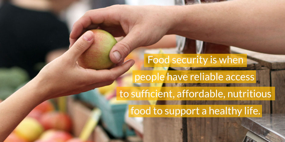 Food security is when people have reliable access  to sufficient, affordable, nutritious food to support a healthy life.